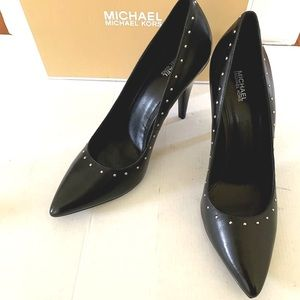 Michael Kors black leather shoes with metal studs